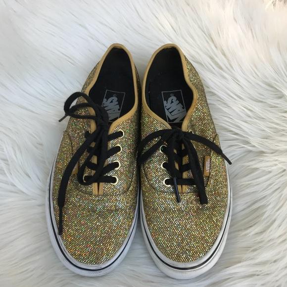 257f76c639 VANS Glitter Gold Micro Dots Black Laced Shoes. M 5b3d6d20aaa5b817c94531d0